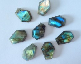 Wholesale,Sell 8pcs Natural Flashy Labradorite Faceted Cabochons(18010801)