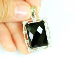 Lot 02 ~ 54.12Ct Natural Black Onyx 925 Sterling Silver Pendant