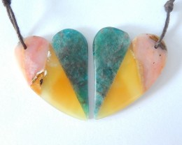 39.5ct Natural Yellow Opal,Pink Opal and Blue Apatite Intarsia Heart Shape