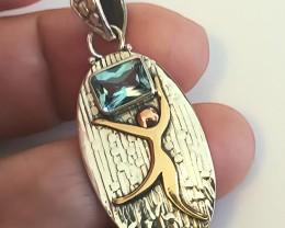 Sky Blue Topaz .925 Sterling Silver Pendant