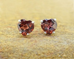 Rhodolite Garnet Heart cut cute 925 Sterling Silver Earrings (SSE0313)