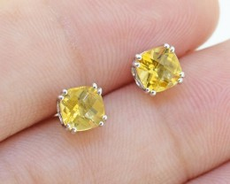 Natural Citrine Cushion 925 Sterling Silver Earrings (SSE0314)