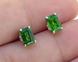 Natural Emerald Green Chrome Diopsite 925 Sterling Silver Earrings (SSE0301