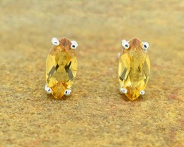 Natural marquise-cut Citrine 925 Sterling Silver Earrings (SSE0317)