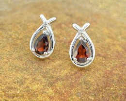 N/R Natural Rhodolite Garnet 925 Sterling Silver Earrings (SSE0318)