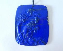 82.5ct Natural Dark Lapis Lazuli Carved Monkey Necklace Pendant,High Qualit
