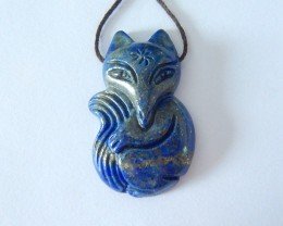 Fox Pendant,Sell Natural Lapis Lazuli Carved Fox Pendant,35x22x7mm(18010908