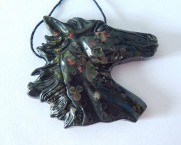 Horse Head Pendant ,Natural Poppy Jasper Carved Horse Head Necklace Pendant