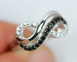 Lot 05 ~ 19.61Ct Natural Black Spinel 925 Silver Ring Sz5.75