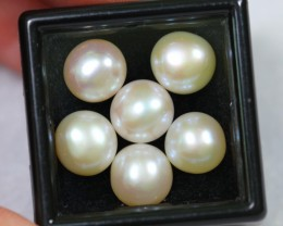 NR Lot 02 ~ 19.47Ct 8mm Natural Freshwater Cultured White Pearl