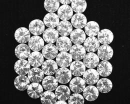 9.62 Cts Natural White Zircon 3.50 mm Diamond Cut 40 Pcs Parcel