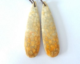 47X12X5MM Natural Indonesian Coral Pear Shape Earrings For Women(18031511)