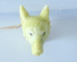 New Design Wolf,Natural Yellow Serpentine Handcarved Wolf Head Necklace Pen