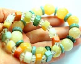 373.5Ct Natural Grade A Mixed Color Jadeite Jade 2Pcs Bracelet
