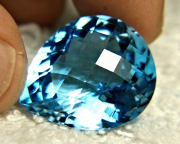 38.73 Carat VVS Brazil Cushion Cut Blue Topaz - Gorgeous