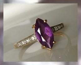 CERTIFIED Amethyst ~ Color D White Diamonds ~ 9kt Yellow Gold