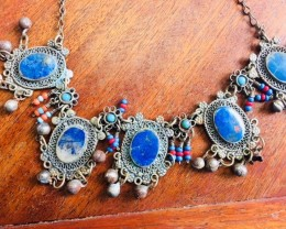 Old lapis tribal necklace BU 2443a