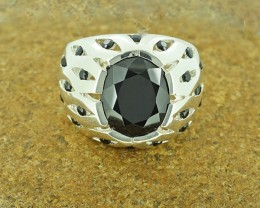 Natural Black Spinel Gents 925 Sterling Silver Ring SIZE 10 (SSR0165)