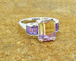 Natural Ametrine 925 Sterling Silver Ring SIZE 6 (SSR0034)
