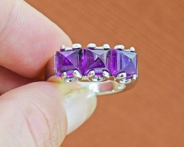 Natural Amethyst 925 Sterling Silver Ring SIZE 6 (SSR0057)