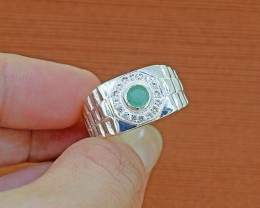 Natural Emerald  Gents 925 Sterling Silver Ring SIZE 9.5 (SSR0171)