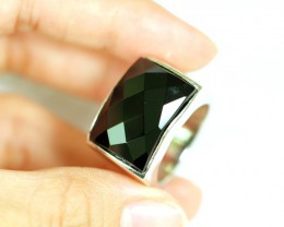 NR Lot 14 ~ 63.17Ct Natural Black Onyx 925 Sterling Silver Ring Sz10.5