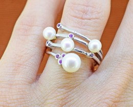 Genuine Pearl & Natural Amethyst 925 Sterling Silver Ring SIZE 6 (SSR03