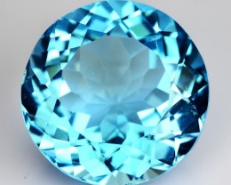 ~FLOWER CUT~ 16.34 Cts Natural Topaz Top Blue Round Brazil