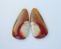 28.5ct Natural Unique Muti Color Picasso Jasper  Freeform Cabochon Pair,Spe