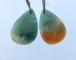 Sale,31.5ct Natural Semitransparent Moss Agate Teardrop Earrings,Fashion Wo