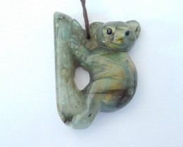 Lovely Koala Pendant,Sell Natural Labradorite Handcarved Animal Koala Lovel