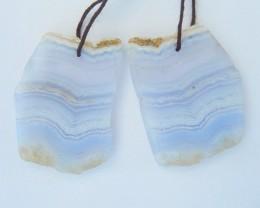 87.5ct Natural Nugget Blue Lace Agate Earrings, Semitransparent Agate Elega