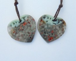 Sweety Heart Shape Earrings,Natural African Blood Jasper Carved Flower Earr