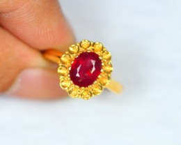 23.10ct Sterling Silver 925 Natural Ruby Ring Sz7.5 GW459
