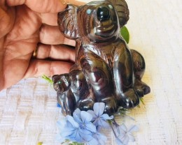 .644 kilo Cute australian  opal Koala Mother n Child carving PPP 2040