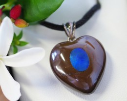 Lovers opal inlay Heart Pendant SU 20