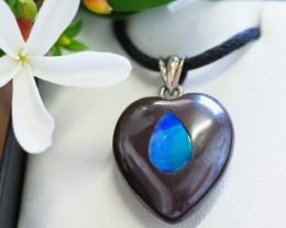 Lovers opal inlay Heart Pendant SU 21