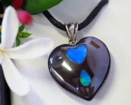 Lovers opal inlay Heart Pendant SU 22