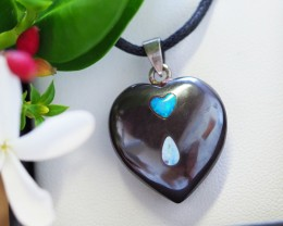 Lovers opal inlay Heart Pendant ,silver Bale SU 23
