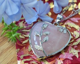 Lovers Rose Crystal  Heart Pendant SU 25