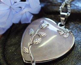 Lovers Rose Crystal  Heart Pendant SU 31