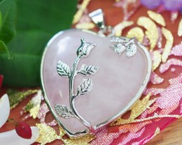 Lovers Rose Crystal  Heart Pendant SU 40