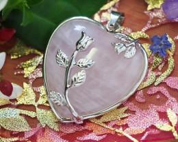 Lovers Rose Crystal  Heart Pendant SU 41