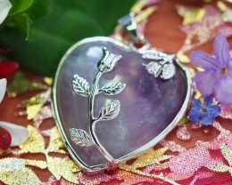 Lovers Amethyst Crystal  Heart Pendant SU 43