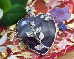 Lovers Amethyst Crystal  Heart Pendant SU 46