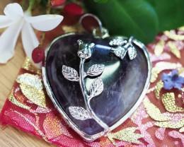 Lovers Amethyst Crystal  Heart Pendant SU 47