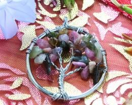 Colorful  Tourmaline Tree of Life  Pendant  SU 57