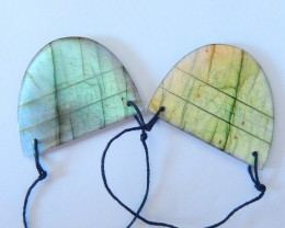 New Design,64.5ct Natural Flashy Labradorite Earrings With 2 Holes (1801131