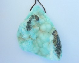 New Arrival,54x35x16mm Natural Drusy Geode Hemimorphite Necklace Pendant ,S