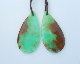 25.5ct Natural Chrysoprase Teardrop Earrings For Women(18011410)
